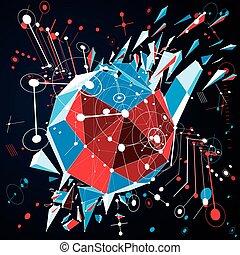 Geometric Bauhaus 3d vector pattern