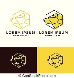 geometric bear logo vector line art outline download