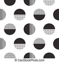 Geometric black and white dotted circles minimalistic pattern.