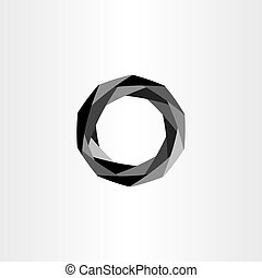 geometric black polygon circle vector abstract background
