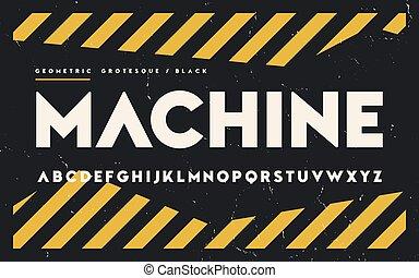 Geometric black weight san serif, alphabet, uppercase ...