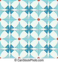 Geometric blue red ikat seamless pattern background - Vector...