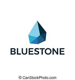 geometric blue stone logo vector template