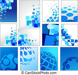 Geometric blue vector backgrounds - Collection of mosaic ...