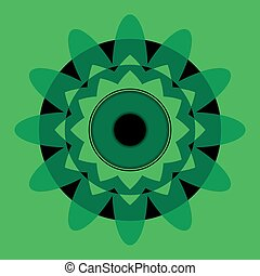 green mandala with black eye