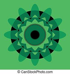 green mandala with black eye