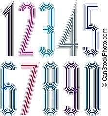 Geometric bright decorative tall striped numbers.