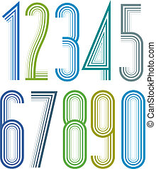 Geometric bright elegant striped numbers with outline.