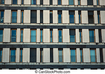 Geometric building, windows, street, in Lisbon, Portugal
