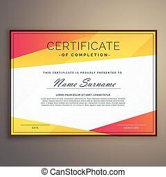 geometric certificate design template vector