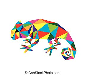 Geometric Chameleon, art vector design