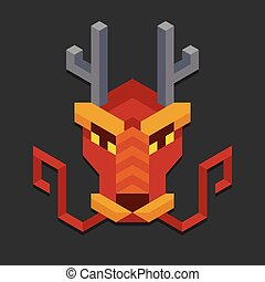 Geometric chinese dragon head - Stylized geometric chinese...