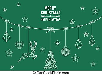Geometric Christmas card, vector design elements