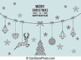 Geometric Christmas card, vector