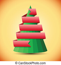 Geometric christmas tree with red ribbon