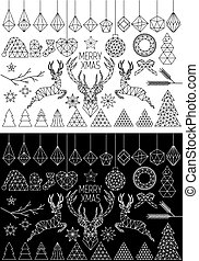 Geometric Christmas, vector set