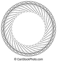 Geometric circle element, circle motif random edgy, angular lines. Suitable as concentric design element, abstract motif, circular non-figural element