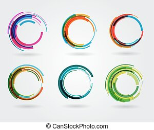 Geometric circle entwined wheels. Business abstract icon. As sign, symbol, logo, web, label, emblem.