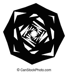 Geometric circle with distorted shapes rotating. Abstract circle element