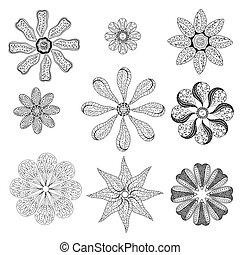 Geometric circular ornament set. Abstract black symbols....