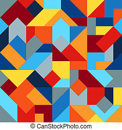 Geometric Colorful Graphic Seamless Pattern of Simple Polygonal Figures. Harmonious Universal Palette of Colors.