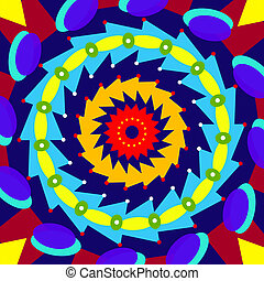 Geometric colorful mandala, sacred circle