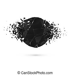 Geometric creative banners with space for text. Abstract explosion of black round shape. Vector illustration isolated on white background