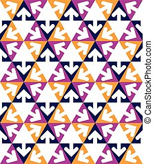 Geometric creative continuous multicolored pattern with arrowhea