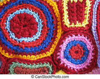 Geometric Crochet - Detail of a piece of crocheted fabric.