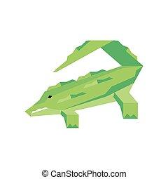 geometric crocodile on white background