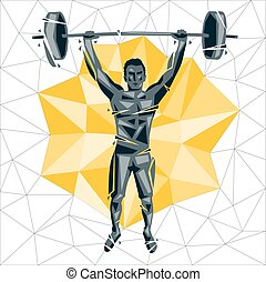 Geometric Crossfit concept. Barbell Snatch. Vector ...