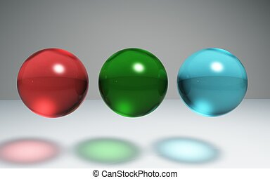 geometric Crystal ball red green blue