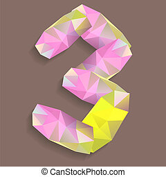 Geometric crystal digit 3