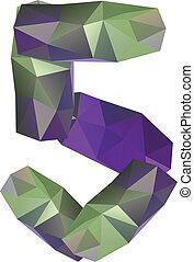 Geometric crystal digit 5
