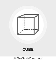 Geometric cube flat icon