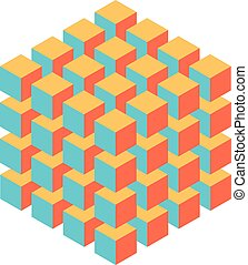 Geometric cube of smaller isometric cubes. Abstract design element. Science or construction concept. 3D vector object