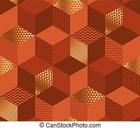 Geometric cubes 3d illusion seamless pattern. Red-brown and...