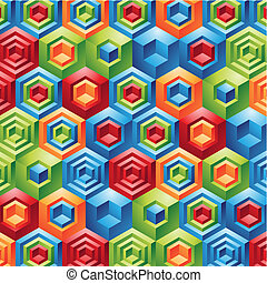 geometric cubes background - Three Dimensional colorful...