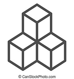 Cube space icon, outline style  Cube space icon  outline
