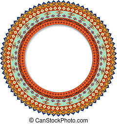 Geometric decorative rosette in the Mexican style with space for