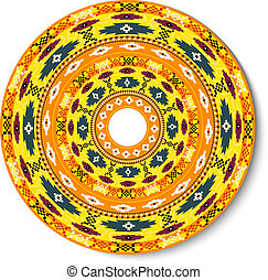 Geometric decorative round element in the Mexican style with spa