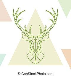 Geometric deer head on colorful triangles.