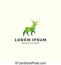 geometric deer lowpoly logo template vector icon