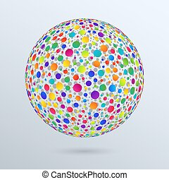 Geometric Design Element Isolated 3d Sphere of Colorful Gradient Circles.