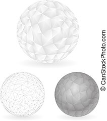 Geometric Design low Polygonal Sphere Template Abstract Background Vector Illustration