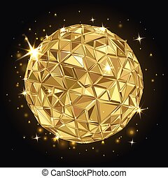 Geometric Disco ball - Abstract 3D geometric illustration....