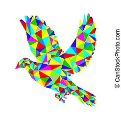 Geometric Dove Flying