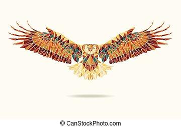 geometric eagle abstract colour eps 10 vector