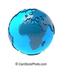 geometric earth globe on white background 3D rendering