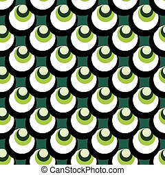 geometric elements on a green background seamless pattern